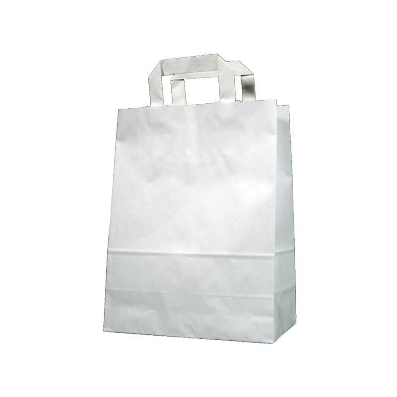 Next χάρτινη τσάντα Υ28x22x10εκ. άσπρη με πλακέ χερούλι