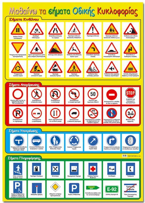 """Next εκπαιδευτική αφίσα """"Σήματα οδικής κυκλοφορίας"""" 50x70εκ."""