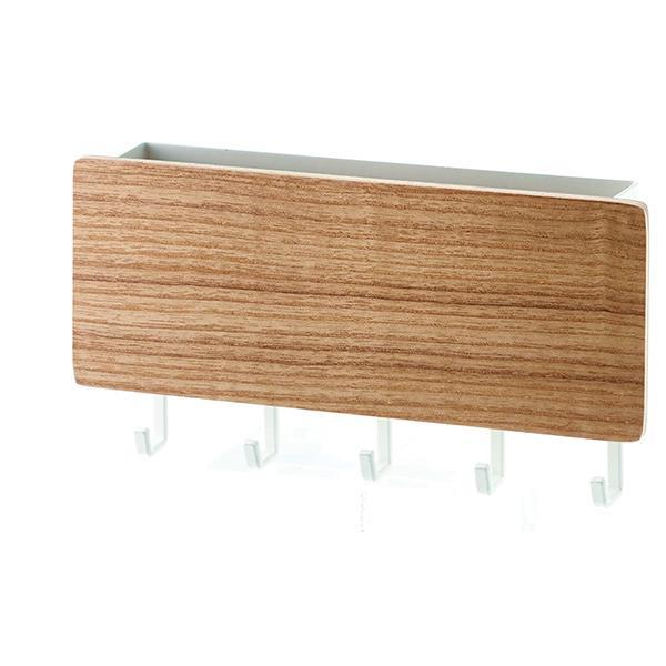 Κρεμάστρα τοίχου Υ9,5x18x3,5εκ. για κλειδιά και αλληλογραφία καφέ ανοιχτό