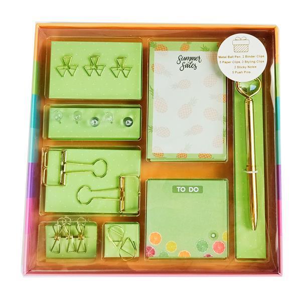 Σετ γραφικής ύλης fruits 18 τεμ. σε κουτί δώρου Υ3x22×22εκ.