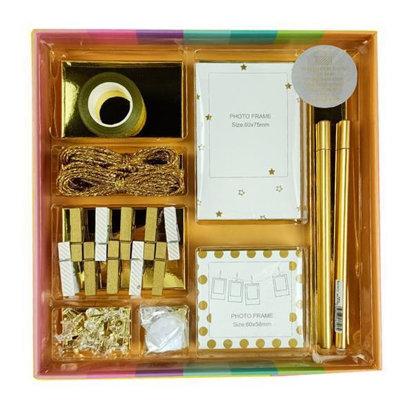 Σετ γραφικής ύλης gold 70 τεμ. σε κουτί δώρου Υ3x22×22εκ.