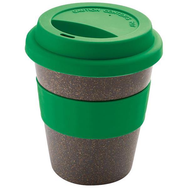 Κούπα οικολογική-bamboo πράσινη με καπάκι από σιλικόνη 250ml.