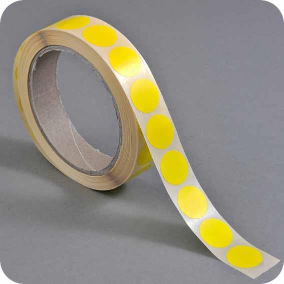 Ετικέτες αυτοκ.στρόγγυλες Ø20mm κίτρινες ρολλό 1000τεμ