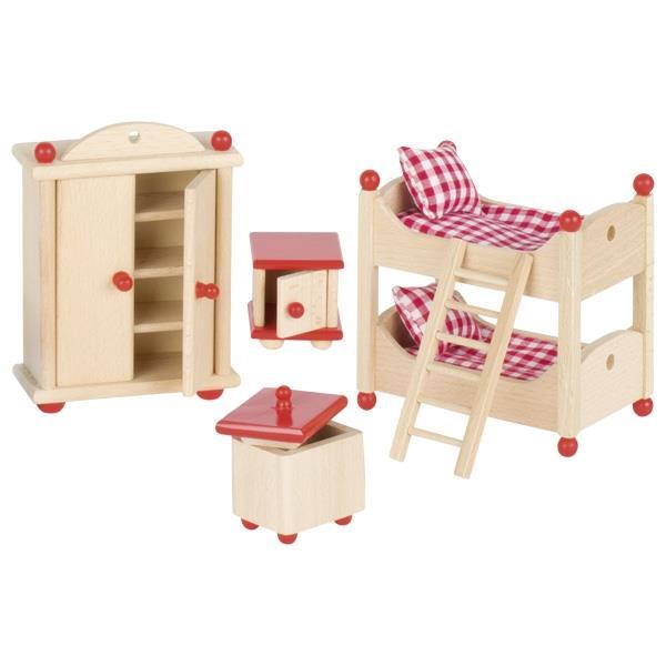 Goki σετ παιδικό υπνοδωμάτιο ξύλινο 5 τεμαχίων για κουκλόσπιτο