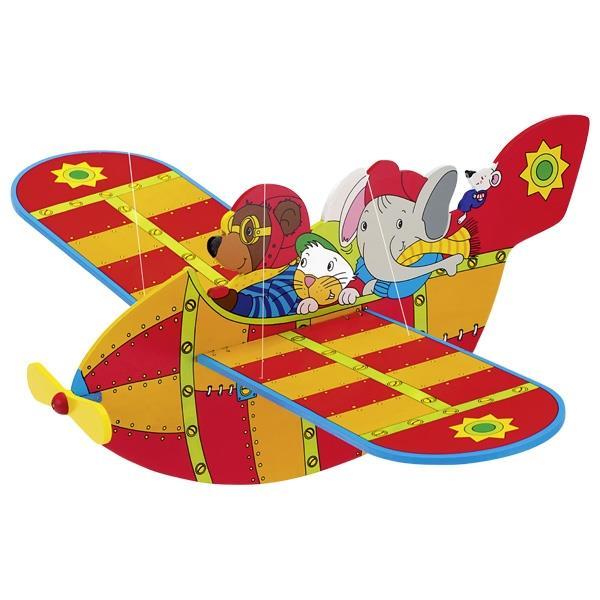Goki εκκρεμές ξύλινο αεροπλάνο με ζωάκια 54εκ.