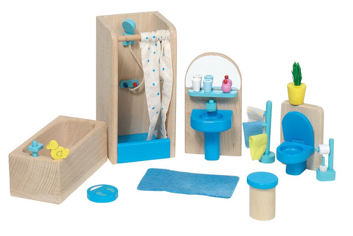 Goki σετ μπάνιο ξύλινο 17 τεμαχίων για κουκλόσπιτο.