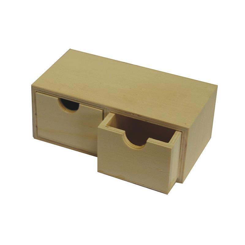 Κουτί ξύλινo με δύο συρτάρια 18x7x9.2εκ.
