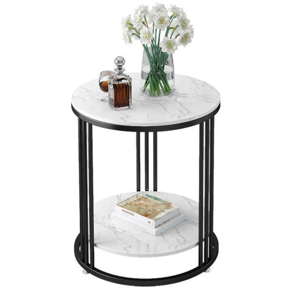 Τραπέζι - κομοδίνο μεταλ. στρογγυλό Υ60εκ. x Ø60 εκ. 2 επιπέδων μαύρο