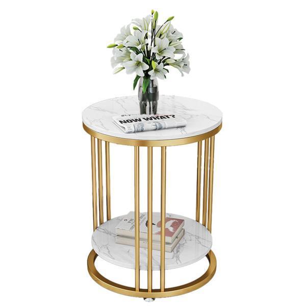 Τραπέζι - κομοδίνο μεταλ. στρογγυλό Υ60εκ. x Ø60 εκ. 2 επιπέδων χρυσό