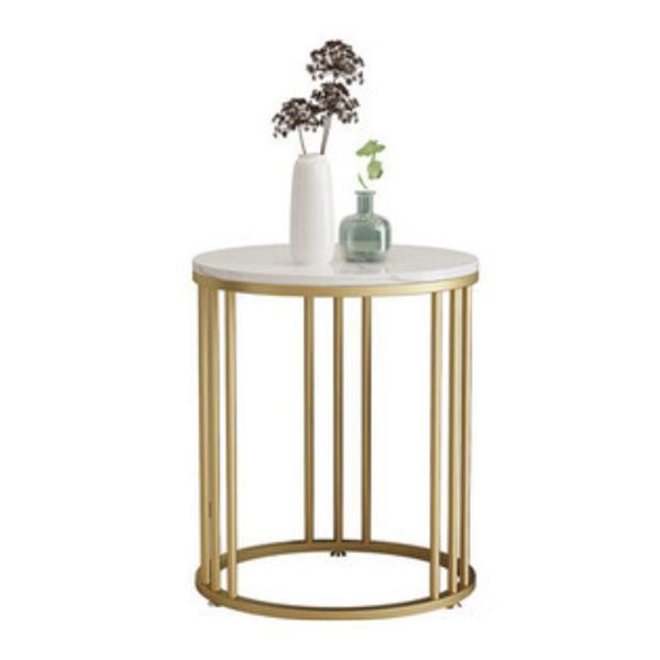 Τραπέζι - κομοδίνο μεταλ. στρογγυλό χρυσό Υ55εκ. Ø50 εκ.  με μαρμάρινη επιφάνεια