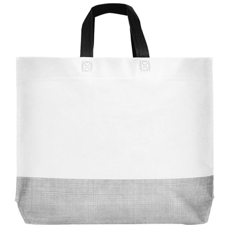 Τσάντα non woven κοντό χερούλι λευκή Υ44x30x10εκ. πιέτα