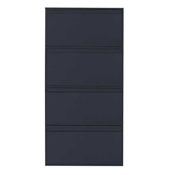 Nextdeco παπουτσοθήκη μαύρη μεταλλική με 4 τμήματα Υ137,5x65,5x15,5εκ.