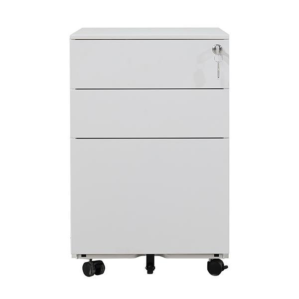 Nextdeco συρταριέρα λευκή μεταλλική με 3 συρτάρια - κλειδαριά Υ60x39x50εκ.