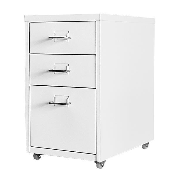 Συρταριέρα μεταλλική 3 θέσεων Nextdeco με λαβές λευκή