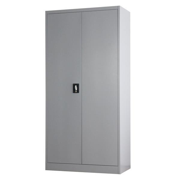 Nextdeco ντουλάπα γκρι μεταλλική δίφυλλη με κλειδαριά Υ185x90x45εκ.