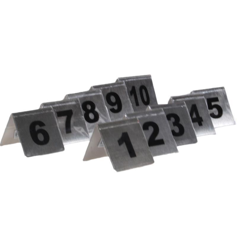 Αριθμοί τραπεζιού inox τύπου Λ, σετ 1-10 Υ7x7.5εκ. βάση