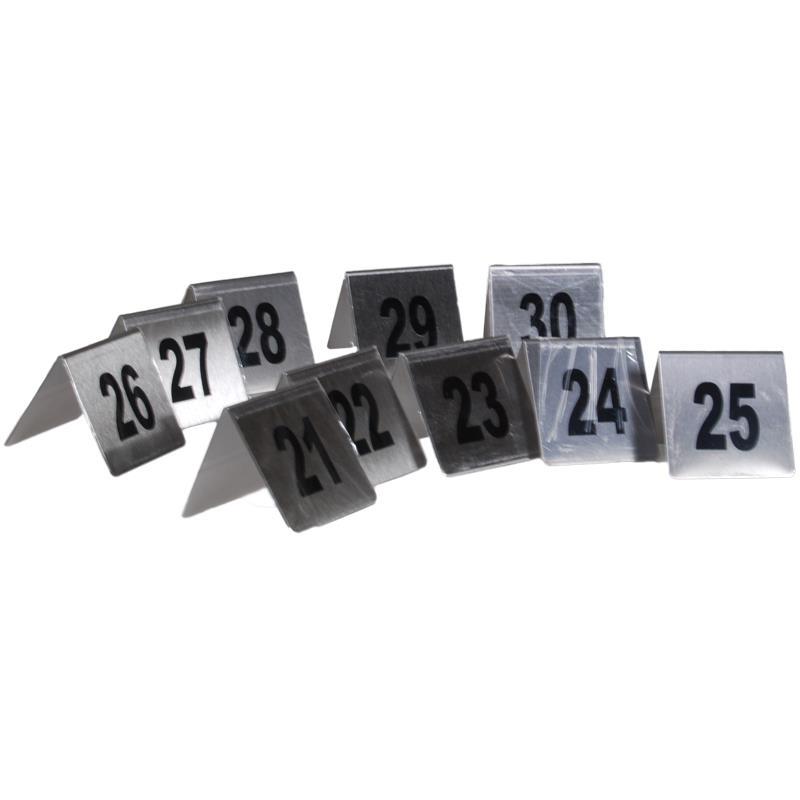 Αριθμοί τραπεζιού inox τύπου Λ, σετ 21-30 Υ7x7.5εκ. βάση