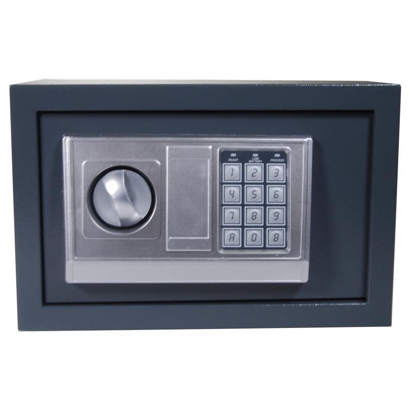 Χρηματοκιβώτιο με συνδυασμό και κλειδί γκρι Υ20x31x20εκ. βάθος
