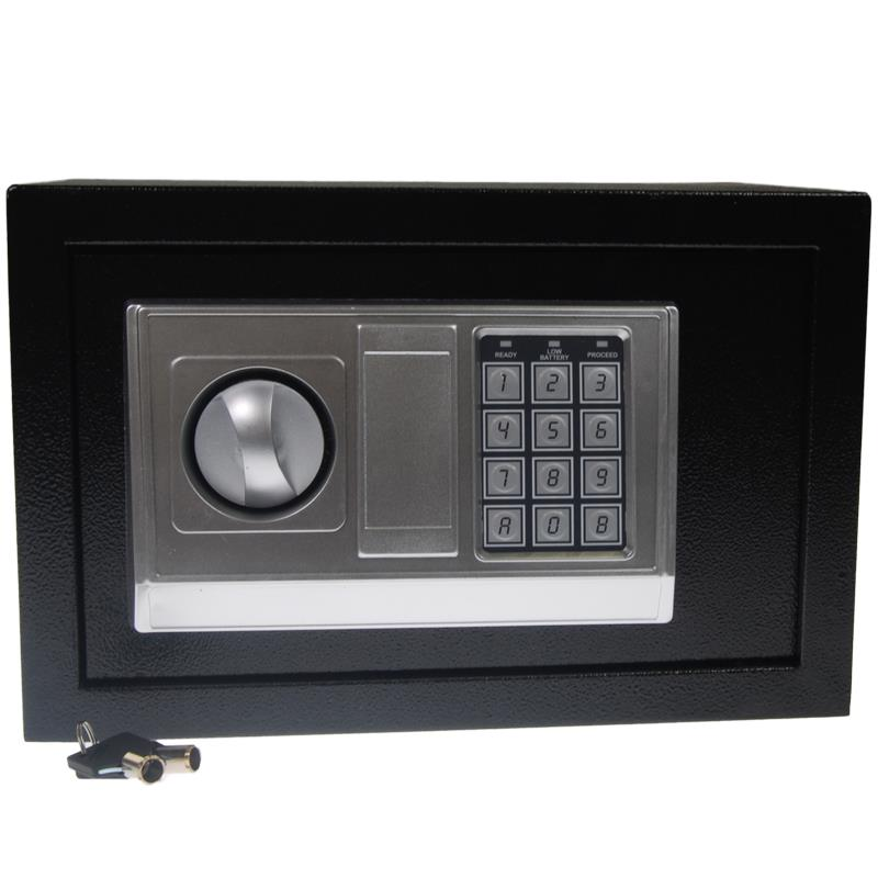 Χρηματοκιβώτιο με συνδυασμό και κλειδί μαύρο Υ30x38x30εκ. βάθος
