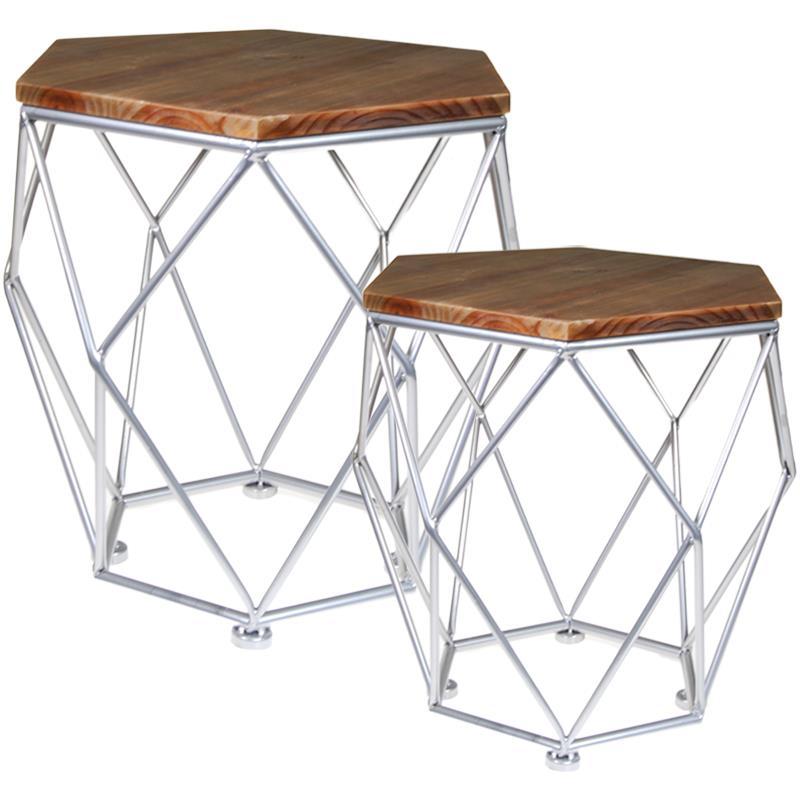 Σετ 2 τραπεζάκια ξύλινα με μεταλλικά πόδια (Υ50x52.5εκ. - Υ42,5x42.5εκ.)