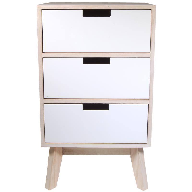 Συρταριέρα-κομοδίνο ξύλινο με 3 λευκά συρτάρια Y59.5x35.5x29.5εκ. βάθος