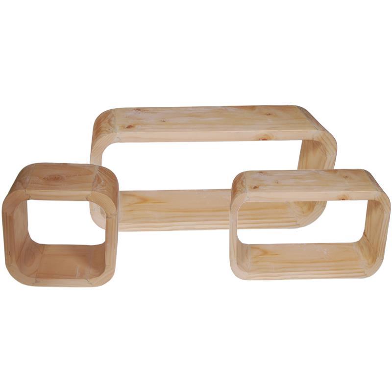Ράφια τοίχου από ξύλο μασίφ 3τεμ. (Υ25x70x12εκ. - Υ20,5x44,5x12εκ. - Υ20x20x12εκ.)
