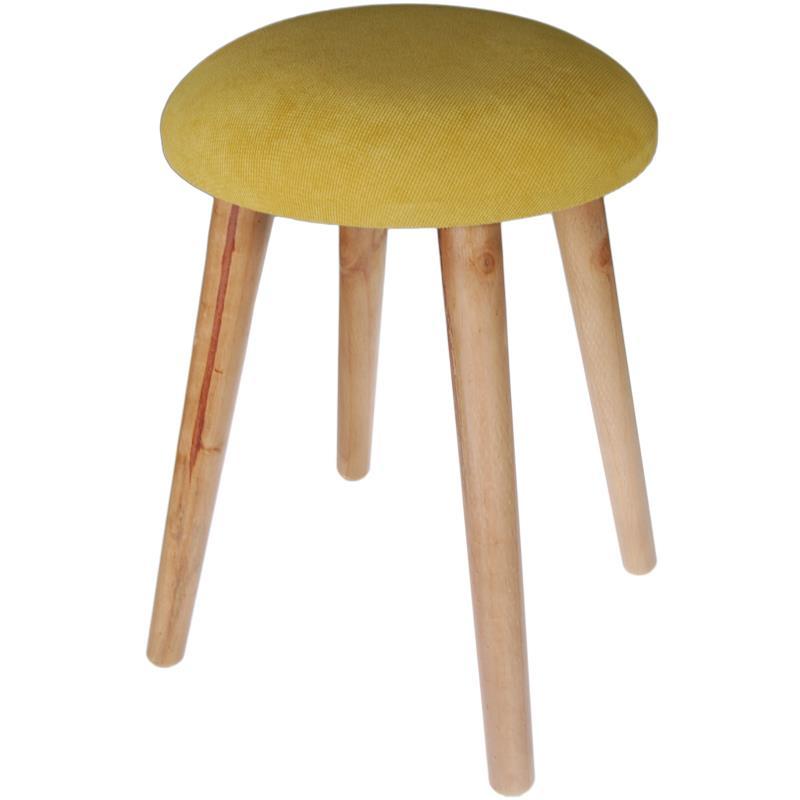 Σκαμπό υφασμάτινο κίτρινο με ξύλινα πόδια Υ42x35εκ.