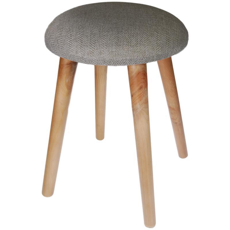 Σκαμπό υφασμάτινο γκρι με ξύλινα πόδια 42x35x35εκ.