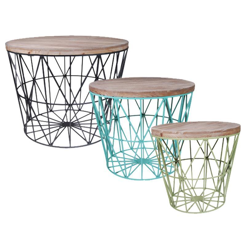 Σετ 3 τραπέζια ξύλινα με σιδερένια βάση Υ47x59.5εκ. - Y42x50εκ. - Υ37,5x40εκ.