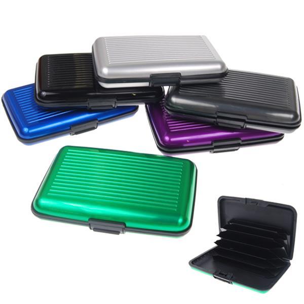 Σκληρή θήκη αλουμινίου για έως 12 κάρτες, 10.5x7x2εκ. διάφορα χρώματα