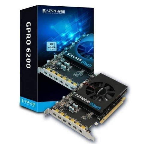 VGA Sapphire GPRO 6200 4G GDDR5 PCI-E Eyefinity 6 Edition Brown Box HEXA miniDP (32258-00-21G) (SAP32258-00-21G)