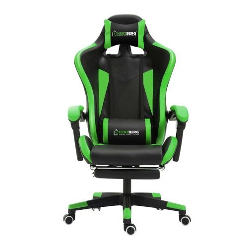 Καρέκλα Gaming με Υποπόδιο Green Herzberg (HG-8080GRN) (HEZHG8080GRN)