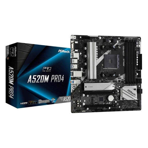 ASRock A520M Pro4 Motherboard AM4 (90-MXBDU0-A0UAYZ) (ASR90-MXBDU0-A0UAYZ)