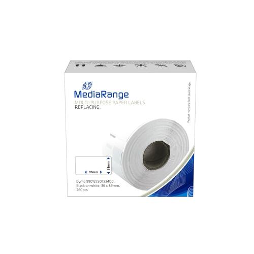 Ετικέτες Γενικής Χρήσης MediaRange (Dymo 99012/S0722400) 36x89mm. 260 pcs (Μαύρα Γράμματα σε Λευκό Φόντο) (MRDY99012)