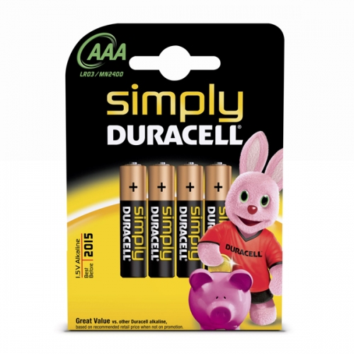 Αλκαλική Μπαταρία Duracell Simply AAA 1.5V (LR3) (4 Pack) (DUR81360782)