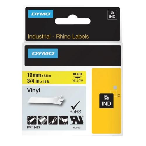 Ταινία Ετικετογράφου DYMO Rhino 18433 Vinyl 19mm. (Μαύρα Γράμματα σε Κίτρινο Φόντο) (S0718470) (DYMO18433)