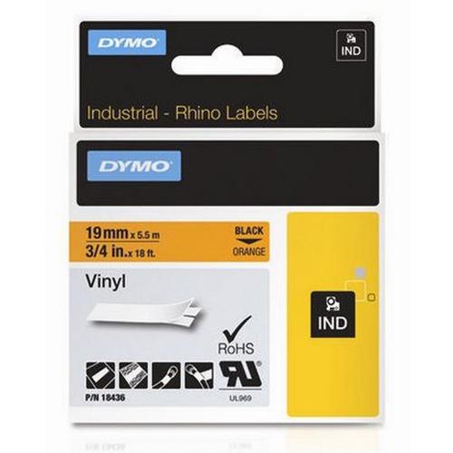 Ταινία Ετικετογράφου DYMO Rhino 18436 Vinyl 19mm. (Μαύρα Γράμματα σε Πορτοκαλί Φόντο) (S0718500) (DYMO18436)