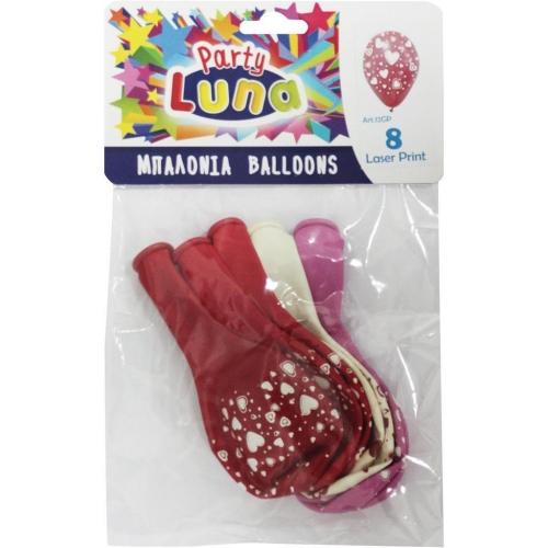 Μπαλόνια Luna Καρδιές 8 Τμχ.