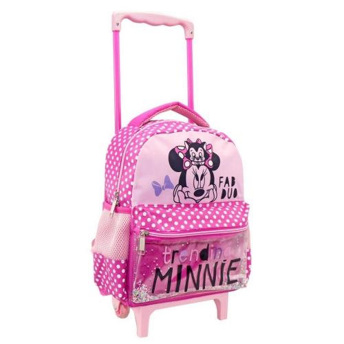 Τσάντα Τρόλλεϋ Νηπιαγωγείου Disney Minnie Mouse Fab Duo με 2 Θήκες