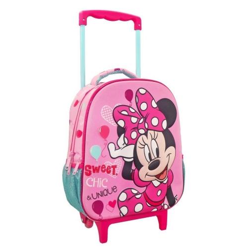 Τσάντα Τρόλλεϋ Νηπιαγωγείου Disney Minnie Mouse Sweet Chic & Unique με 2 Θήκες