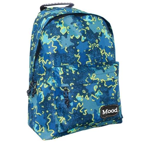 Τσάντα Πλάτης Εφηβική Mood Sigma Μπλε - Κίτρινο με 2 Θήκες