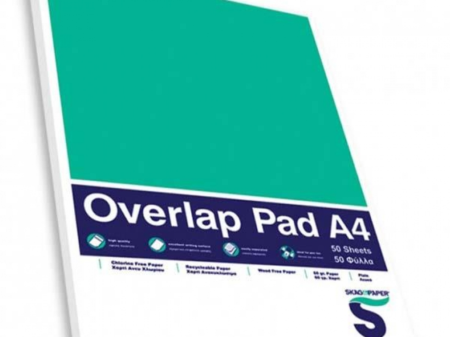 Μπλοκ Α4 Overlap Pad 50φ λευκό κολλητό