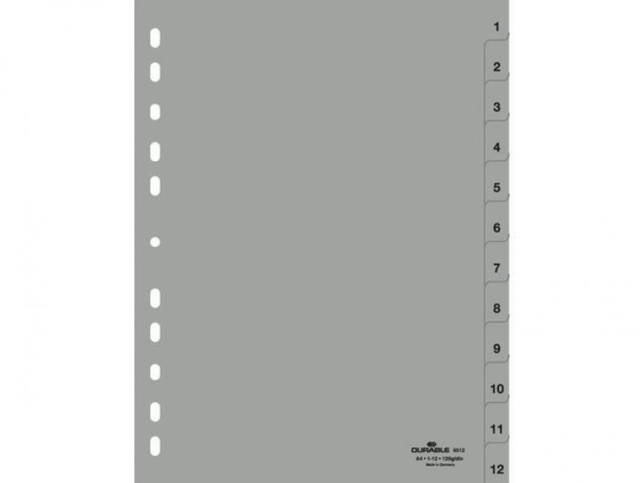 Διαχωριστικά ευρετήρια 1-12 Durable 6512