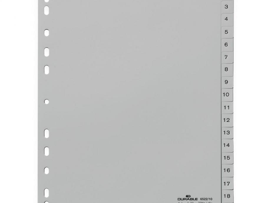 Διαχωριστικά ευρετήρια 1-20 Durable 6522 αριθμ.