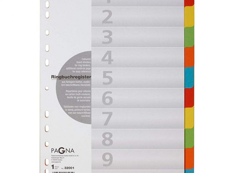 Διαχωριστικά ευρετήρια 1-10 Pagna XXL