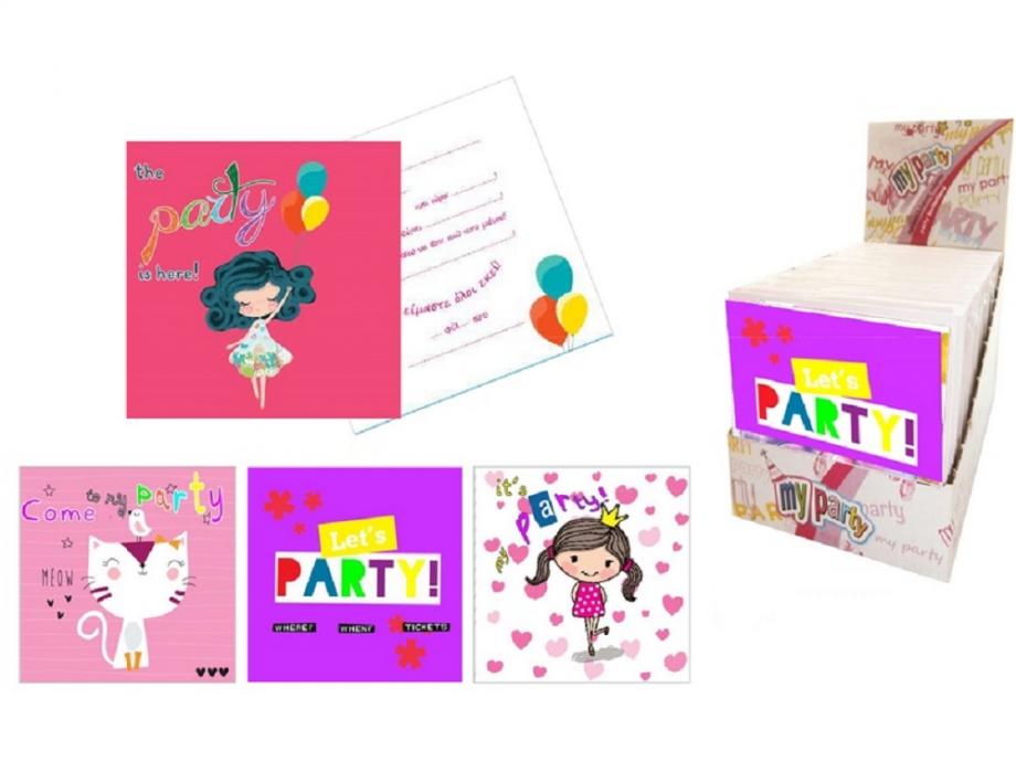 Προσκλήσεις για πάρτυ 6 τεμ.κορίτσι