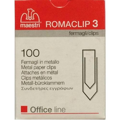 Συνδετήρες Romaclip Νο 3 μεταλλικοί Maestri