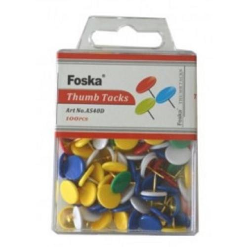 Πινέζες Foska πολύχρωμες 100 τεμ