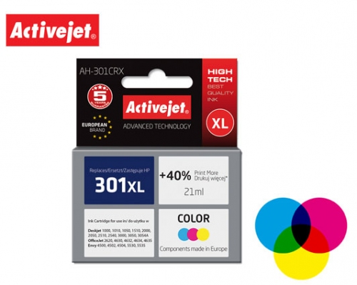 ACTIVE JET INK ΣΥΜΒΑΤΟ ΜΕ HP AH-301CRX #301XL TRICOLOR 21ml (Α) #CH564EE