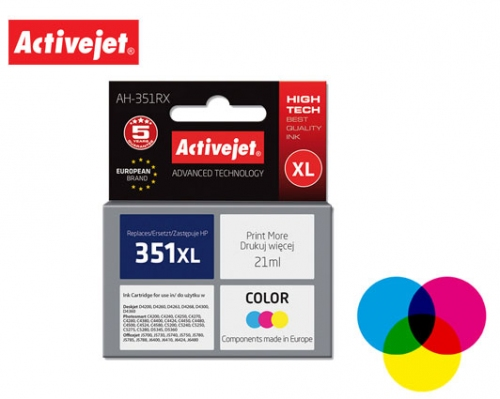 ACTIVE JET INK ΣΥΜΒΑΤΟ ΜΕ HP AH-351RX #351XL TRICOLOR 21ml (Α) #CB338EE